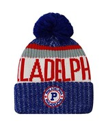 Philadelphia Men's Winter Knit Landmark Patch Pom Beanie (Red/White/Blue) - $13.89
