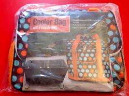Polka Dot Cooler Bag With Foldable BBQ Grill NIP Orange Blue Brown New U... - £5.48 GBP