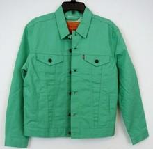 NWT LEVI'S Green Raw Rigid Denim Truckers Jean Jacket Men's S M - $59.99