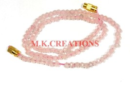 "Natural Rose Quartz Gemstone 3-4mm Rondelle Faceted Beads 36"" Beaded Nec... - $26.64"