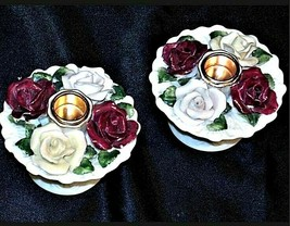 Pair of Vintage floral Candle Holders AA19-1428