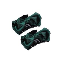 2Packs Handmade Satin Bow-knot Jaw Clip Retro Hair Claws, Dart Green - $14.21