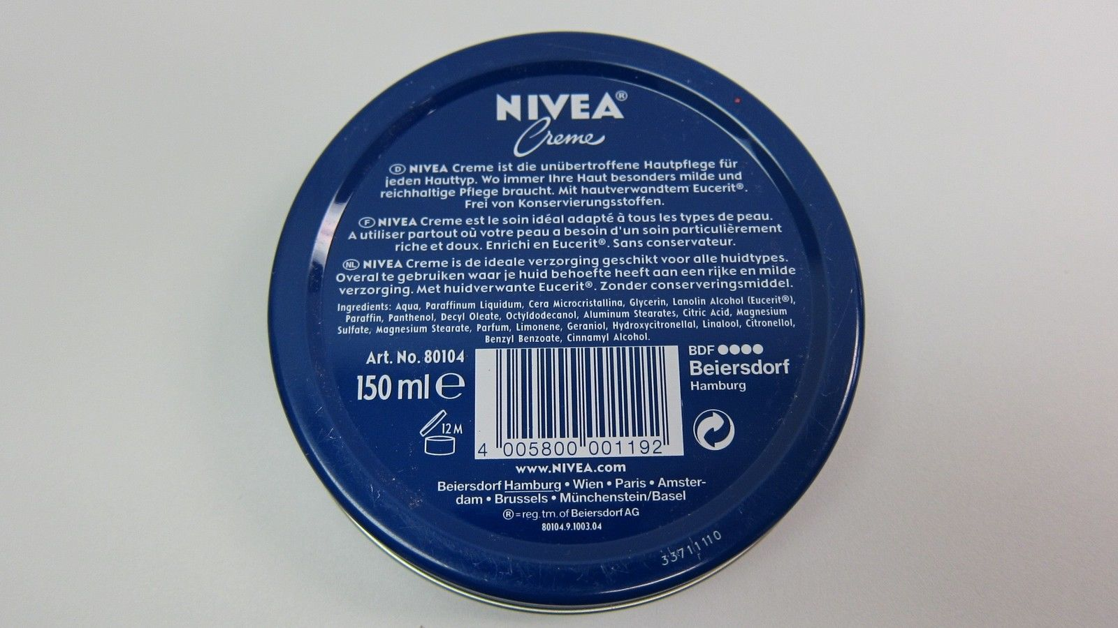 Original GERMAN NIVEA cream - Hands/ Face/ Body - 150ml - 1 can- Made in Germany