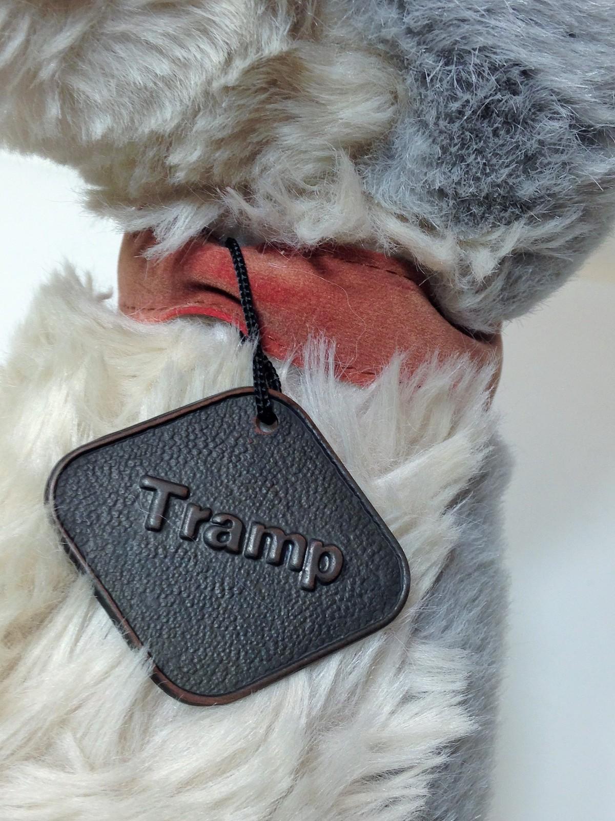 """Vintage Disney Tramp Plush Dog Grey Stuffed Animal Metal DogTag 14"""" image 10"""