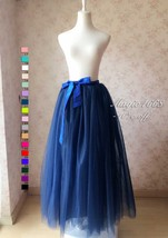 Navy Women Maxi Plus Size 4 layer Tulle Skirt Full Length Tulle Skirt Petticoat