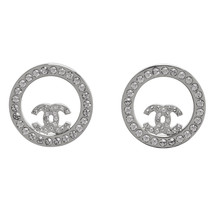 SALE***Authentic Chanel CC Circle Logo Crystal Strass Silver Stud Earrings