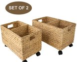 Set of 2 Woven Water hyacinth Storage Baskets with wheels for Home Organization - $0.00