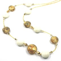 """LONG NECKLACE WHITE YELLOW MURANO GLASS DISC GOLD LEAF, 70cm, 27.5"""" ITALY MADE image 2"""