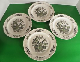 Wedgwood Barlaston GREEN LEAF Salad Plate (s) LOT OF 4 Queen's Shape Crazing - $27.67