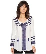 NIC + ZOE Blouse Getaway Top Peasant White Blue Tassel Embroidered Boho ... - $180.88