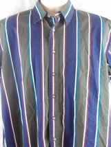 Van Heusen 417 Mens Over Easy Blue/Green Striped S/S Button Front Shirt ... - $12.74