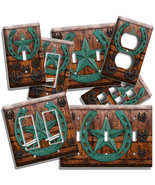 RUSTIC PATINA HORSESHOE BARN DOOR LIGHT SWITCH OUTLET WALL PLATES WESTER... - $10.99+