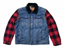 Levis Mens L Blue Jean/ Black Red Buffalo Plaid Flannel Sherpa Trucker J... - $98.00