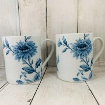 Spode Home Vintage Denim 12 oz. Coffee Cup Mugs White Blue Floral Set Of... - $24.74
