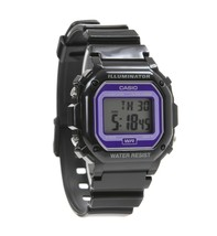 Casio F108WHC-1B Classic Square Digital Wristwatch Black/purple Face - $22.00