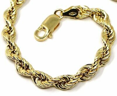 18K YELLOW GOLD BRACELET BIG 7 MM BRAID ROPE LINK 7.9 INCHES LONG MADE IN ITALY
