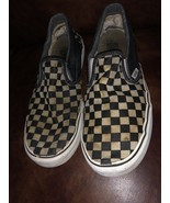 Vintage Old School Checkerboard Vans Slip-on Size 12 Blue Gray Off The Wall - $29.69