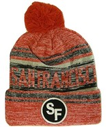 San Francisco SF Patch Fade Out Cuffed Knit Winter Pom Beanie Hat (Red/B... - $11.95