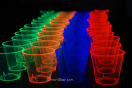 1oz 50 Count Neon Assorted Blacklight Reactive Plastic Shot Glasses - $7.50