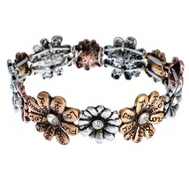 Tri-Tone Flowers with Inspirational Words Stretch Bracelet - $65.11