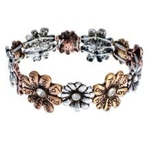 Tri-Tone Flowers with Inspirational Words Stretch Bracelet - ₹4,686.36 INR