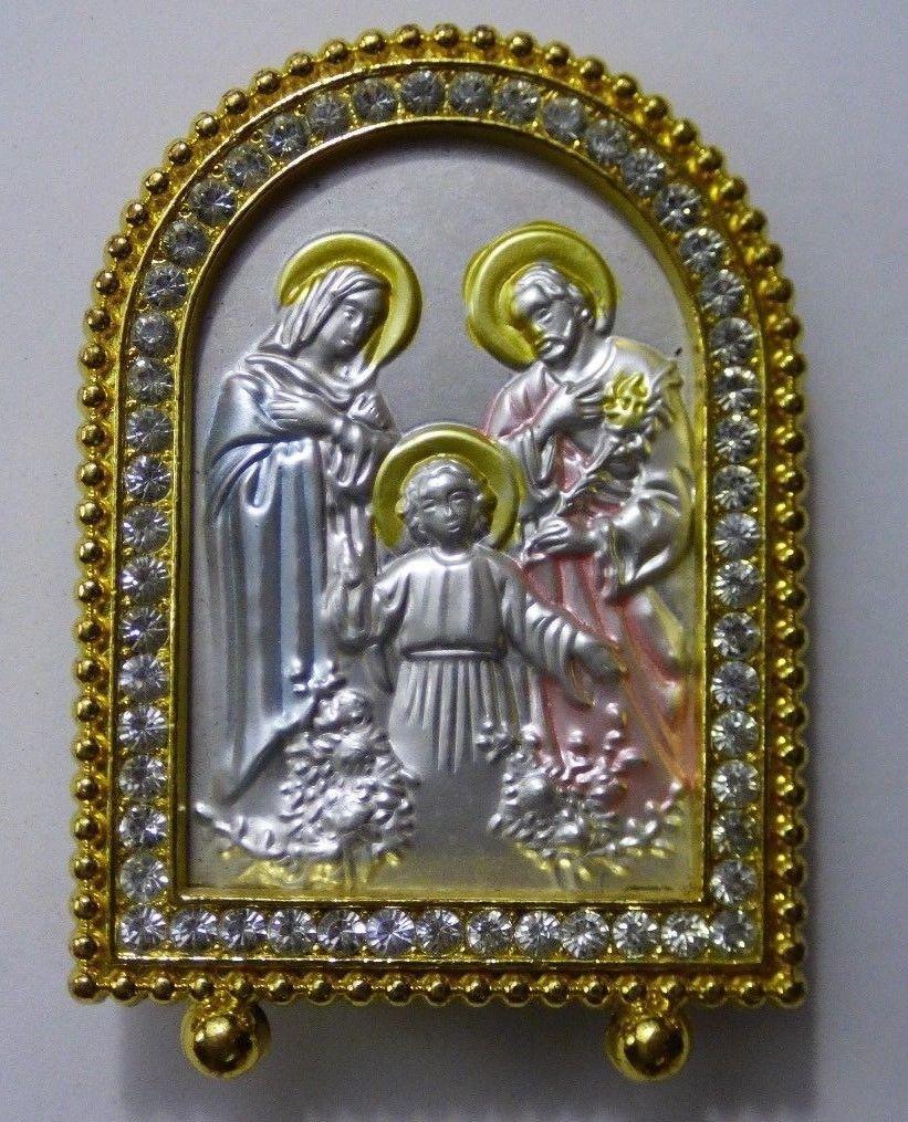 Mini Bling Religious Metal Embossed Mary Joseph Jesus as a Child Goldtone Framed