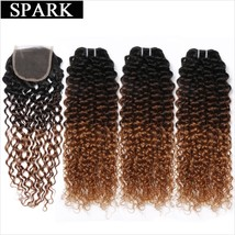 Ombre SPARK Brazilian Hair Weave Bundles With Closure Afro Kinky Curly 4 or 3 Bu - $331.00