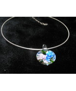 Estate Ridged Silvertone Snake Chain Omega with Pink & Blue Flower Fused... - $11.29