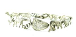 Sterling Noah's Arc Bracelet Elephant Lion Giraffe Zebra Link Bracelet 2... - $29.69