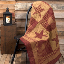 New Primitive NINEPATCH STAR QUILTED THROW 60X50 Farmhouse Bedding - $79.19