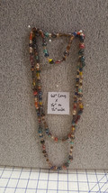 "62""L Colorful Art Glass Lampwork Venetian Murano Beaded Necklace High End VTG - $79.48"