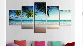 Large Framed/Unframed Beach Paradise Ocean Canvas Print Five Piece Home ... - $42.99