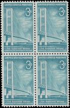1958 Mackinac Bridge Block of 4 US Postage Stamps Catalog Number 1109 MNH