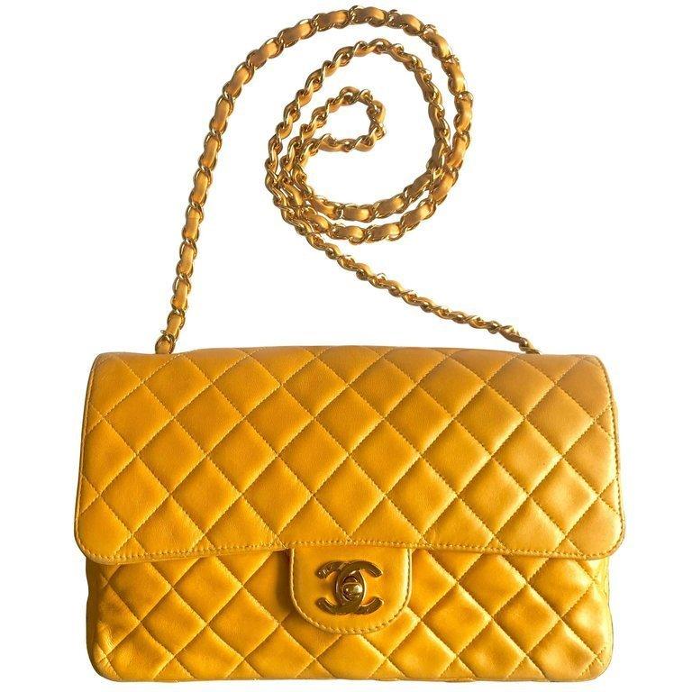 13ef8efc304c65 Vintage Chanel classic 2.55 yellow color soft lamb leather chain shoulder  bag. - $2,430.00