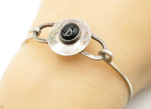 EM NAVAJO 925 Silver - Vintage Cabochon Cut Black Onyx Hook Cuff Bracelet- B6338