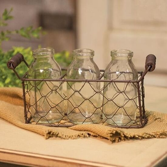 "New Decorative 3 Bottles w/ Wire Carrier Farmhouse Country Decor 4"" Tall - $18.99"