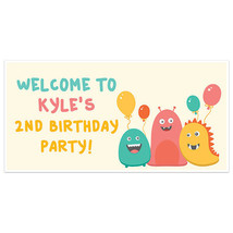 Little Cute Monster Birthday Banner Party Decoration Backdrop - $22.28+