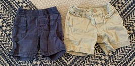 Boy's Tea Collection Shorts Size 6-18 Months TWO Included Navy And Khaki - $20.56