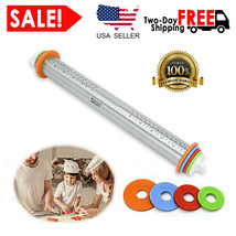 Adjustable Stainless Steel Rolling Pin with 4 Thickness Rings for Baking... - $18.85