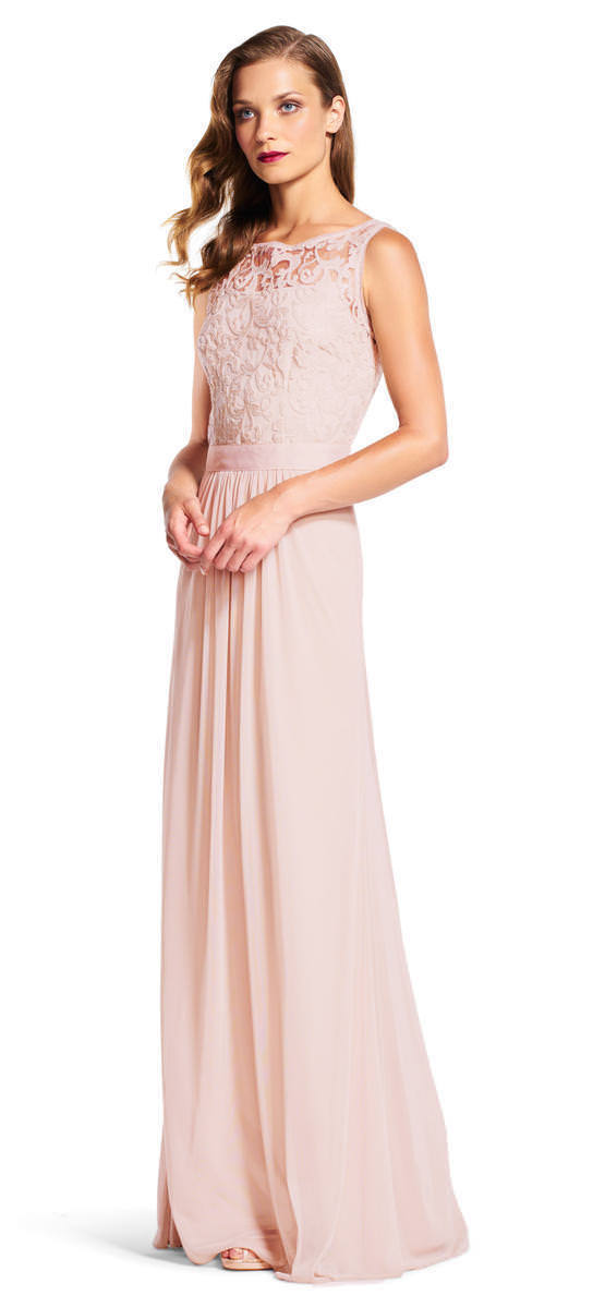 Adrianna Papell Women's Sequin Mesh Stretch Tulle Gown with Lace Bodice