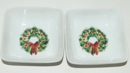 PPD Christmas Condiment Bowls Decorated Tree  Wreath Set of 4 New Bone China image 2