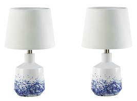 "White with Blue Watercolor Design Table Lamps w/ Linen Shade 16"" High Se... - $134.95"