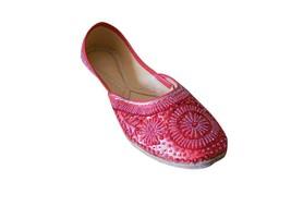 Women Shoes Indian Handmade Mojari Red Bridal Oxfords Leather Jutties Flat US 5 - £20.21 GBP