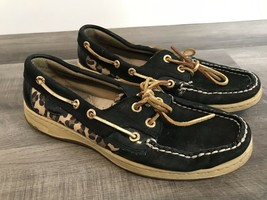 Sperry Top Sider Angelfish Women Black Gold Boat Shoes SZ 6.5 Animal Print - $27.72