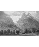 SWITZERLAND Glacier at Grindelwald - 155 Years Old Antique Print Engraving - $13.77