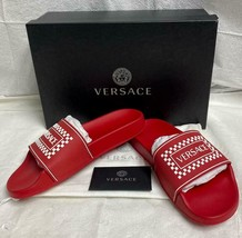 Awesome Red VERSACE Unisex Rubber Slides Sandals Gold Medusa New in Box $395 - $222.74