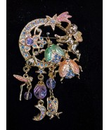 "KIRKS FOLLY ""Fairy Fire Flies"" Gold-Tone Enamel BROOCH Pin - 2 3/4 inches - $59.00"