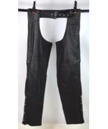 Vtg 1990's Punk Black Leather Belt Lace Up Biker Motorcycle Rider Chaps ... - $34.64
