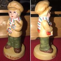 Vintage Russ Berrie Porcelain Collectible Figurine Ceramic Boy Wearing Hat Chris - $25.00