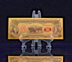 "1899 ""GOLD""$10 BISON GOLD CERTIFICATE Rep.*Banknote~STUNNING DETAIL OFFER - $11.19"